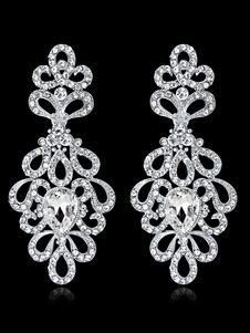 Image of Orecchini pendenti da donna in argento con strass gioielli da sposa
