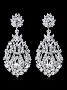 Image of Orecchini pendenti da donna Orecchini pendenti con strass argento da sposa