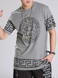 Image of T-Shirt da uomo in cotone con stampa etnica T-shirt t-shirt da u