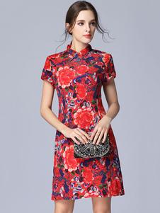 Image of Abito corto rosso cheongsam abito estivo floreale manica corta colletto in raso abito stile cinese