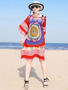 Beach Cover Up Vestido Mujer Sundress Split Impreso Vestido de verano