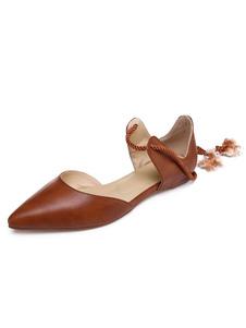 Image of Ballerine da donna in vera pelle marrone a punta piatta stringate scarpe piatte