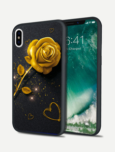Image of IPhone X Phone Case Floral Print Resistente alle macchie di colore IPhone 8 IPhone 7 IPhone 6 Cover del telefono nero vintage