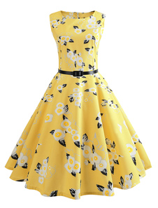 2018 Floral Vintage Vestido 1950s sin Mangas Cinturón Amarillo Vestido de Verano
