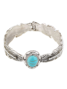 Boho Bracelet Turquoise Gemstone Leaf Clip en la pulsera