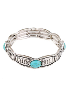 Boho pulsera turquesa piedras preciosas tono de plata Clip en la pulsera de joyería de las mujeres