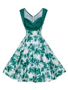 2018 Verde Vintage Vestido 1950s sin Mangas Sweetheart Plisado Vestido de Verano