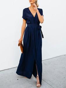Image of Maxi vestito Wrap 2019 Abito estivo a maniche corte con scollo a