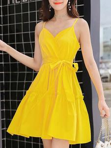 Amarillo Vestido de Verano 2018 Mujer sin Mangas Slip Vestido