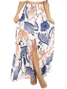 Image of Maxi Summer Skirt Printed Split Blue Skirt