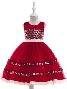 Robes Fille Fleur 2018 Sequin Rubis Ceinture Nœud Sans Manches Robe de Fête Formelle pour Enfants