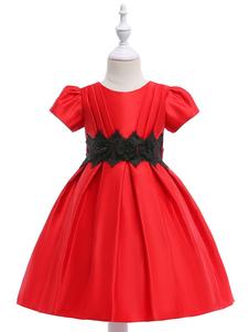 Flower Girl Dresses lavande plissée Sash Lace A Line enfants robe de soirée formelle