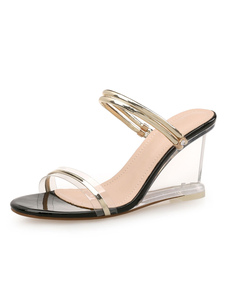 Image of Gold Wedge Sandals Women Shoes Open Toe Slide Sandals
