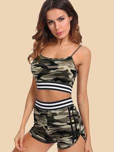 Image of Sexy Short Set cinghie Camo Crop Top con pantaloncini