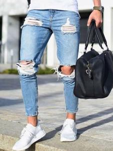 Image of Jeans strappati da uomo  2018 taglia forte Jean affusolato leggero affusolato