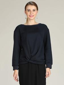 Image of Felpa donna casual manica lunga arricciata top blu royal