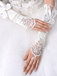 Image of Guanti da sposa bianchi guanti senza dita con strass in rilievo
