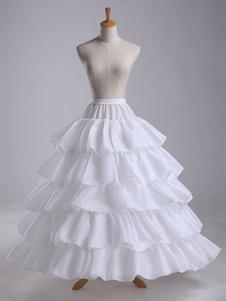 Image of Matrimonio Petticoat Full Gown Slip White Tiered Ruffles Slip Cr