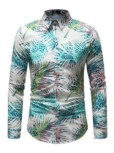 Image of Camicia Uomo Beach Shirt Plus Size Tropical Print Camicia a mani