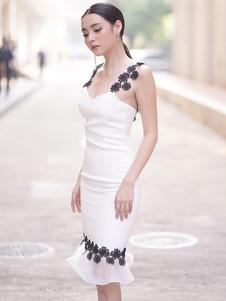 Blanco Vestido de la Fiesta 2018 Vestido de los Cumpleaños Floral Vestido Tubo Vestido de Coctel
