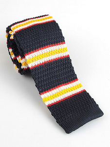 Image of Cravatta uomo cravatta a righe cravatta blu scuro