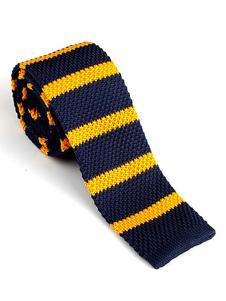Image of Cravatta uomo casual cravatta in maglia a righe blu scuro