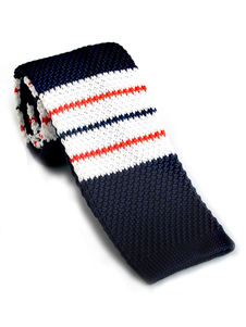 Casual Square Tie Stripe Color Block Dark Navy Hombres Lazo de punto