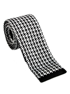 Image of Cravatta casual da uomo modello cravatta bianca con motivo pied-