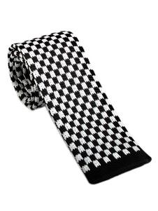 Image of Cravatta in maglia casual a quadretti con motivo cravatta a quad