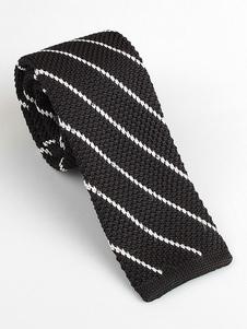 Image of Cravatta quadrata casual da uomo a righe diagonali cravatta nera