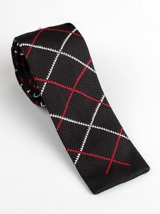 Image of Cravatta quadrata da uomo casual modello cravatta a scacchi nera
