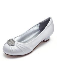 Image of Scarpe da ragazza fiore bianco scarpe piatte in raso con punta r