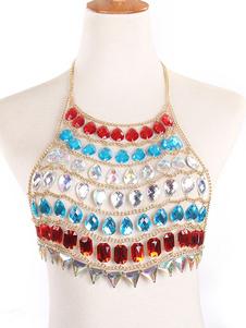 Body Chain Bralette Multi Color Crystal Beach Joyería