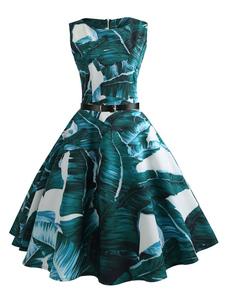 Image of Abito vintage verde con stampa a foglia Abito lungo con cintura Abito senza maniche retro
