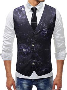 Image of Gilet per abito nero Plus Size Stampa V Neck Cappotto Slim Fit per uomo