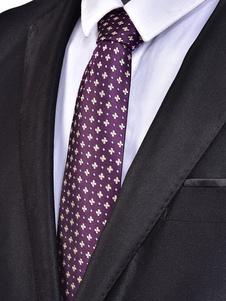 Image of Cravatta casual da uomo in jacquard floreale con cravatta viola