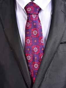 Image of Cravatta casual geometrica jacquard con cravatta uomo viola