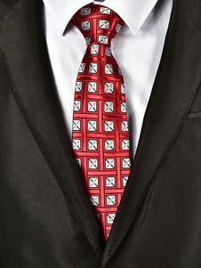 Image of Cravatta casual a fantasia jacquard con cravatta rossa da uomo