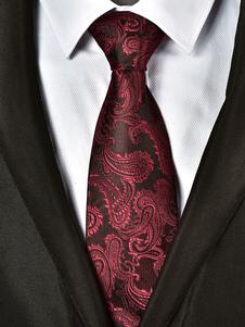 Image of Cravatta uomo cravatta paisley jacquard rosso scuro