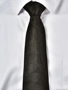 Image of Cravatta casual nera da uomo cravatta jacquard paisley