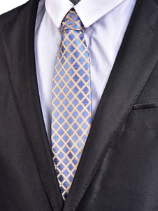 Blue Men Necktie Jacquard Diamond Pattern Casual Tie