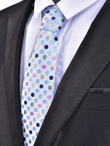Blue Men Necktie Polka Dot Jacquard Casual Corbata