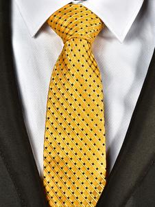 Amarillo Hombres Corbata Jacquard Plaid Casual Tie