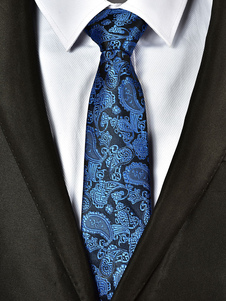 Blue Men Tie Paisley Jacquard Business casual corbata
