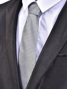 Image of Cravatta uomo casual in jacquard scozzese con collo cravatta ner