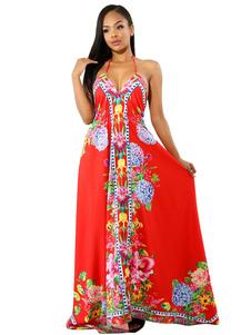 Image of Abito estivo con stampa floreale e abito lungo senza maniche con