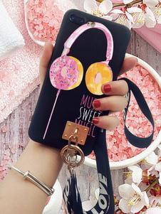 Caja del teléfono negro Imprimir Donut Grommet resistente a los golpes Antideslizante Cubierta del teléfono para IPhone X IPhone 8 Plus con cuerda