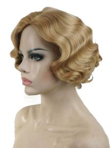 Blonde Vintage pelucas 2018 pelucas de pelo de Halloween mujeres corto ondulado aleta pelucas