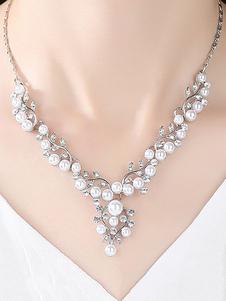 Image of Collana con collana di gioielli con perla e orecchini pendenti