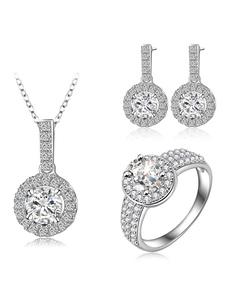 Ensemble de bijoux de soirée en argent strass collier pendentif